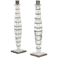 A Pair of Square Candlesticks by Sylvain Subervie, 2003