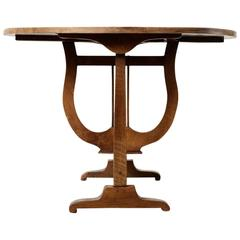 19th Century French Hand Pegged Walnut Round Vineyard Table for Wine Tasting