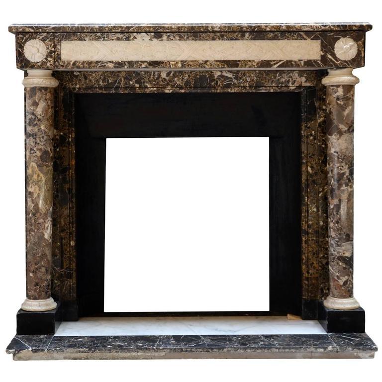 Louis XVI Style Emperador Marble Fireplace, 19th Century