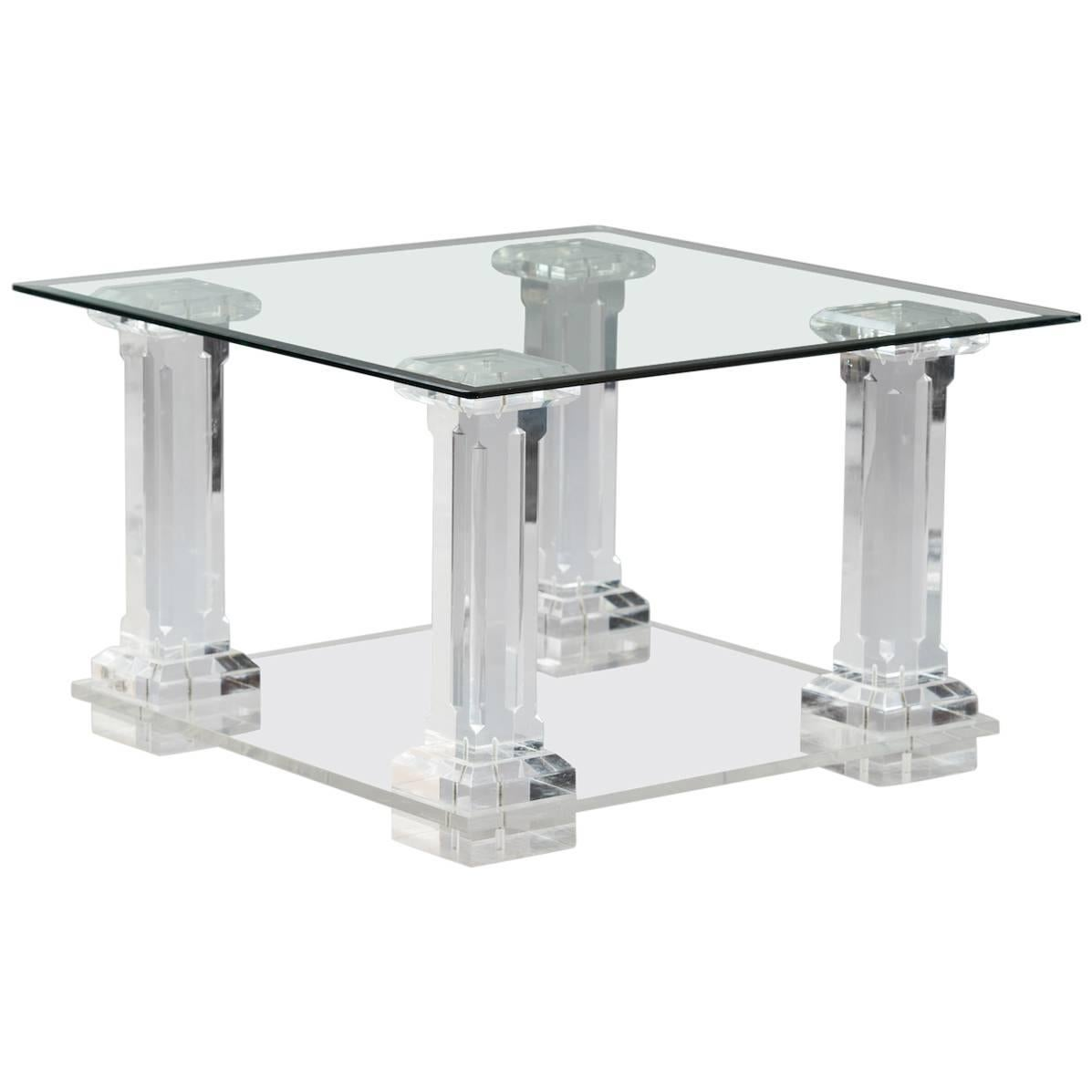 Italian lucite and glass Side Table