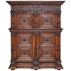 18th Century Carved Flemish Oak Cupboard