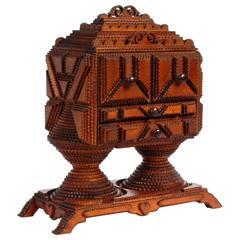 Superb Tramp Art Conical Base Pedestal Box