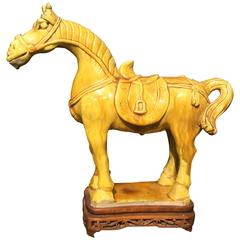 Chinese Yellow Glazed Horse on Teak Stand