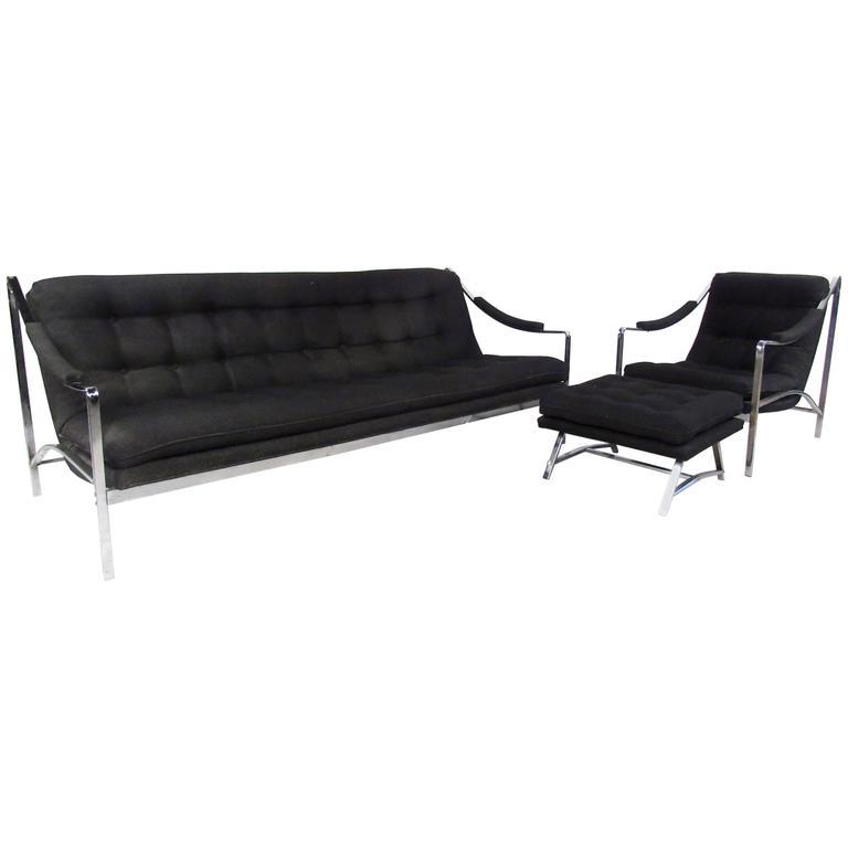 Retro Modern Sofa and Chair Set with Ottoman