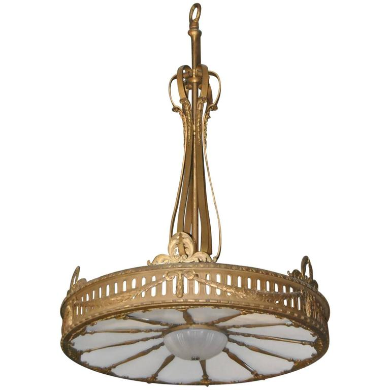 """Oversized (72"""" Tall by 48"""" Wide) Bronze Neoclassic Style Twelve-Light Chandelier For Sale"""
