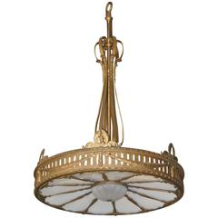 "Oversized (72"" Tall by 48"" Wide) Bronze Neoclassic Style Twelve-Light Chandelier"