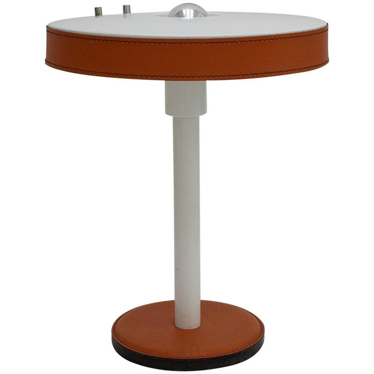 Modernist Table Lamp with Leather Details 1
