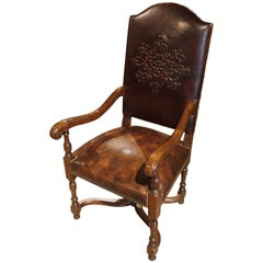 Embossed Leather Walnut Wood Armchair from France