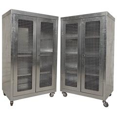 Pair of Mesh Front Metal Cabinets