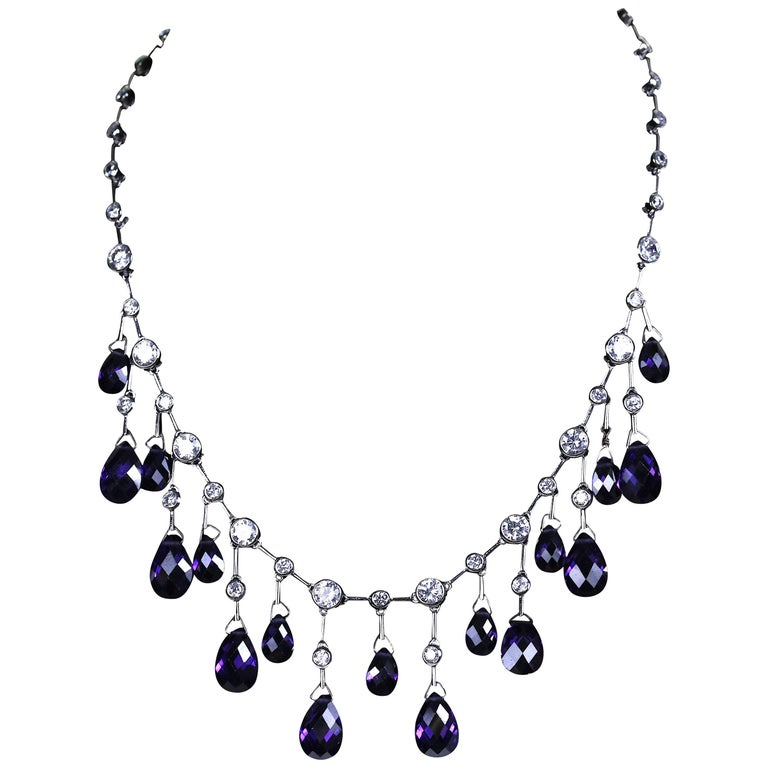 Chic Amethyst Crystal CZ Sterling Fringe Necklace