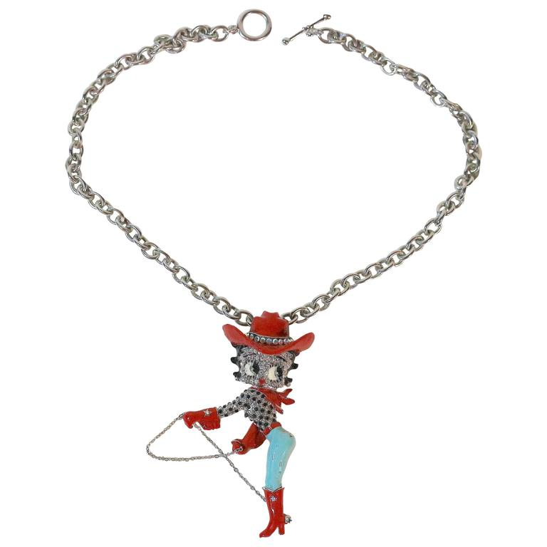 Cutest Vintage Sterling Iconic Betty Boop Necklace Polychromed Pave CZ Face
