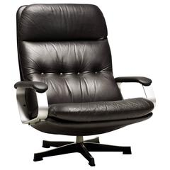 Large 1970s Leather Black Leather Lounge Chair