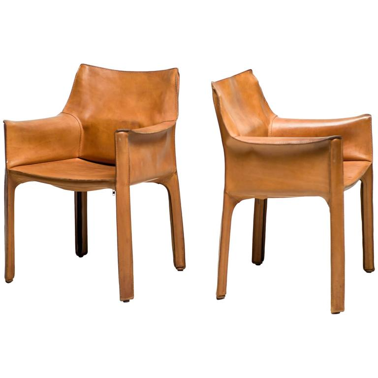 Captivating Pair Of Mario Bellini Saddle Leather Cab Chairs, Cassina, Italy 1