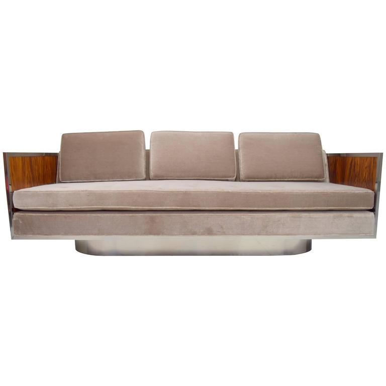 Rosewood and Chrome Case Sofa with Oval Base Attributed to Milo Baughman For Sale