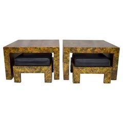 Pair of Phyllis Morris Oil Drop Finish End Tables with Nesting Ottomans