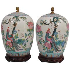 Pretty Pair of Chinese Porcelain Vases Now as Lamps