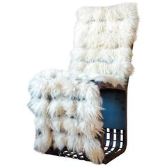 Contemporary Willow Spring Steel Chair with Organic Lamb Wool