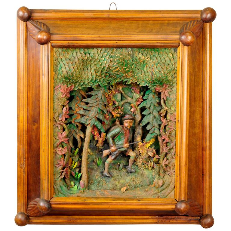 Antique Black Forest Carved Wood Poacher Diorama