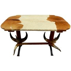 Antique Bull Horn Table, circa 1870