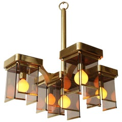 Sciolari Five Arms Brass and Smoked Glass Mid-Century Chandelier, 1960s, Italia