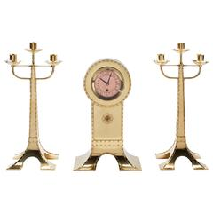 Art Nouveau Clock Set by H.P. Berlage, Executed by Amstelhoek, circa 1900