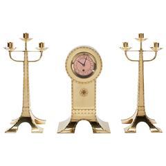 Art Nouveau Clock Set executed by Amstelhoek, circa 1900