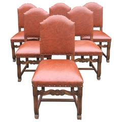 Antique Style Oak Dining Table Extending, Six Chairs Seats 12, French