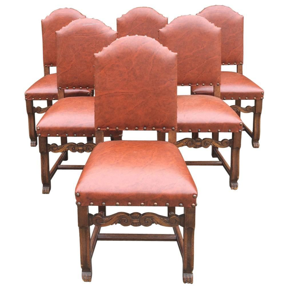 Antique style oak dining table extending six chairs seats for Oak dining room table chairs