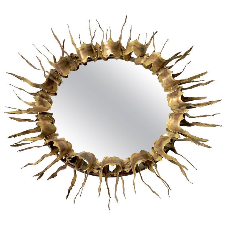 Sunburst Brass Mirror Mid-Century, 1970s, USA
