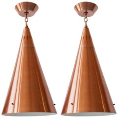 Pair of Huge Pendant in Copper Anodized Aluminium with Glass Lens, 1950s