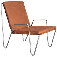 1953, Verner Panton, Bachelor Chair with Cushions and Arms in Suede Leather