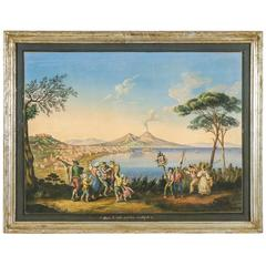 Framed Gouache of the Bay of Naples Signed A Importa, circa 1903