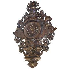 Very Large and Exceptional Carved Walnut Wall Clock with Imaginary Monsters