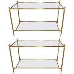 Matched Pair Of Spanish Brass Console Tables