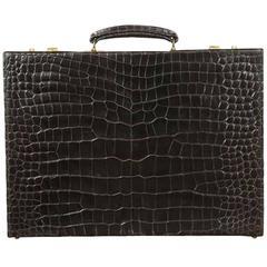 Mid-Century Dark Brown Crocodile Briefcase by Asprey