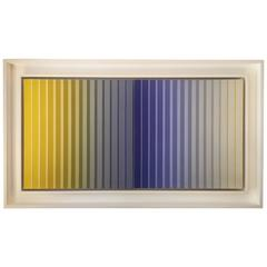 Framed Acrylic on Canvas Striped Dyptych 1976 by Dan Gilhooley