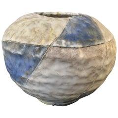 Geometrical Glazed Pottery Vase Signed by S.J.E., 1985