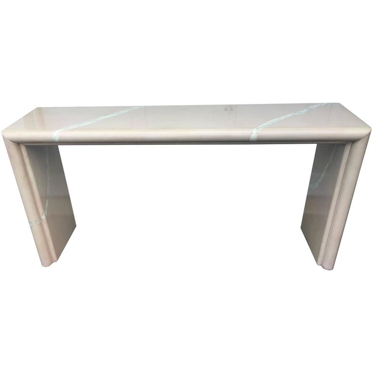 Karl Springer Style Goatskin Console Table