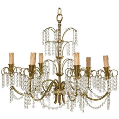 Romantic Italian Brass, Crystal, 1950s Waterfall Chandelier