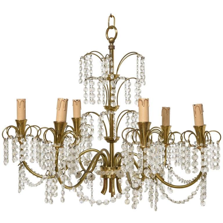 Romantic Italian Brass, Crystal, 1950s Waterfall Chandelier For Sale