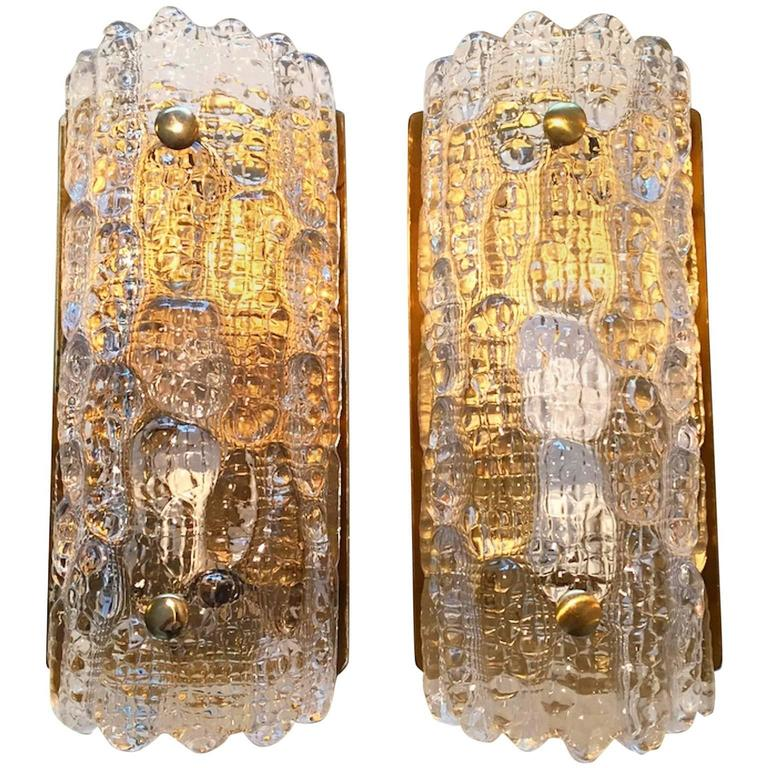 Pair of Glass and Brass Wall Sconces by Carl Fagerlund and Orrefors for Lyfa
