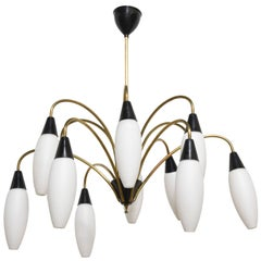 Large Stilnovo Twelve-Light Opaline Shades Sputnik Chandelier, 1950s
