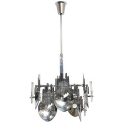 1970s Chrome Optic Chandelier by Italian Designer Oscar Torlasco