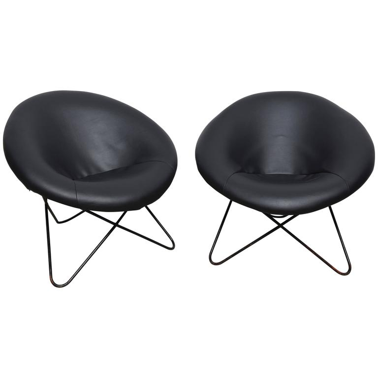 Pair Of Hairpin Circle Chairs, 1950s By Jean Royère, France For Sale