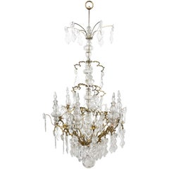Large French Baguès Doré, Bronze and Crystal Chandelier in Louis XV Style