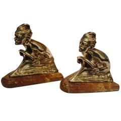 Pair Car Driver Silver Plated Bronze Bookends  , Signed G. Lorenzini