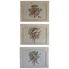 Set of Three French Carved Painted and Silver Gilt Panels