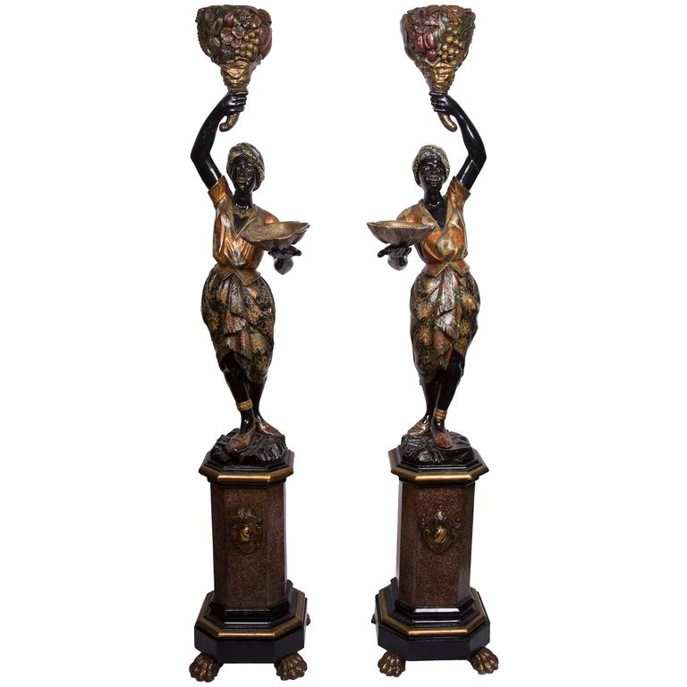 Pair of Venetian Polychrome Decorated and Ebonized Blackamoor Figures 1