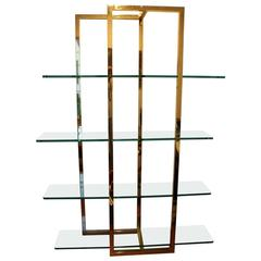 Pace Brass and Glass Etagère