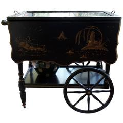 Chinoiserie Black with Gold Tea Cart